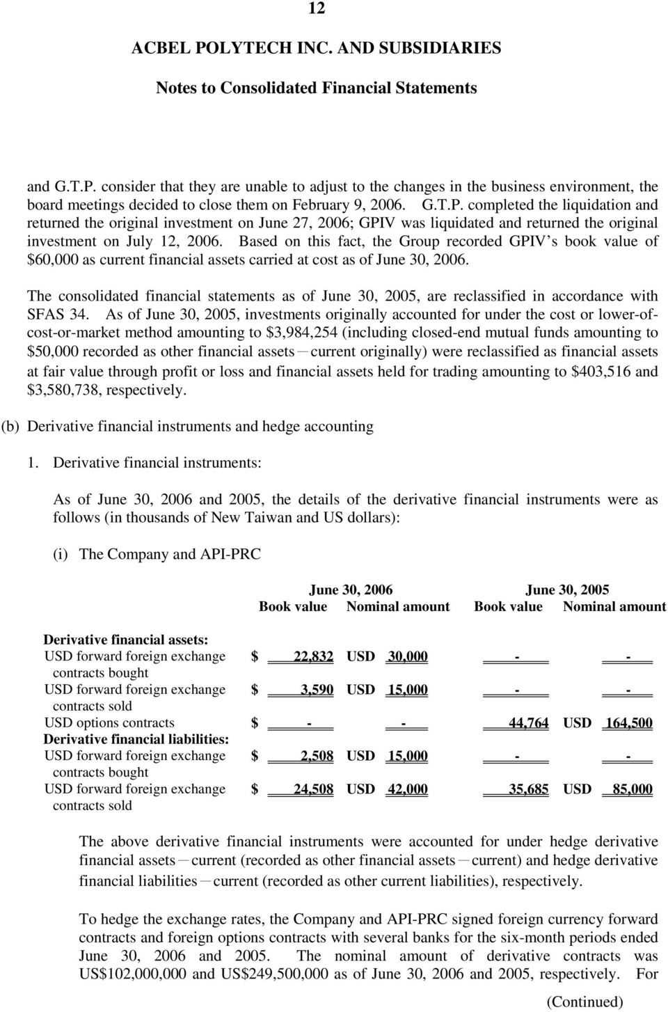 The consolidated financial statements as of June 30, 2005, are reclassified in accordance with SFAS 34.