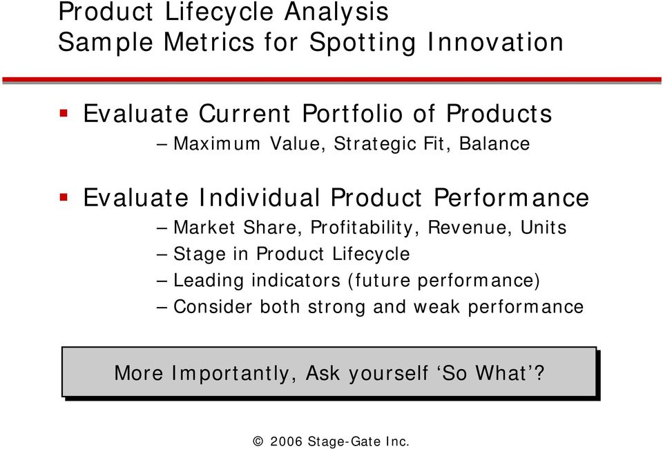 Market Share, Profitability, Revenue, Units Stage in Product Lifecycle Leading indicators