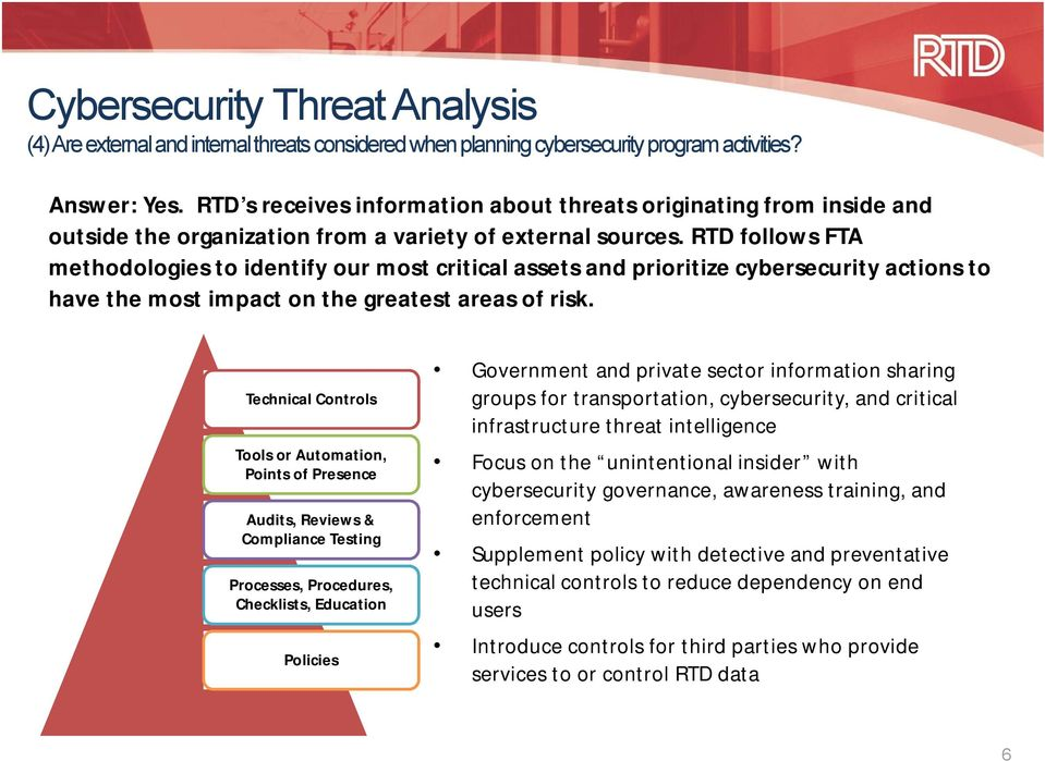 RTD follows FTA methodologies to identify our most critical assets and prioritize cybersecurity actions to have the most impact on the greatest areas of risk.
