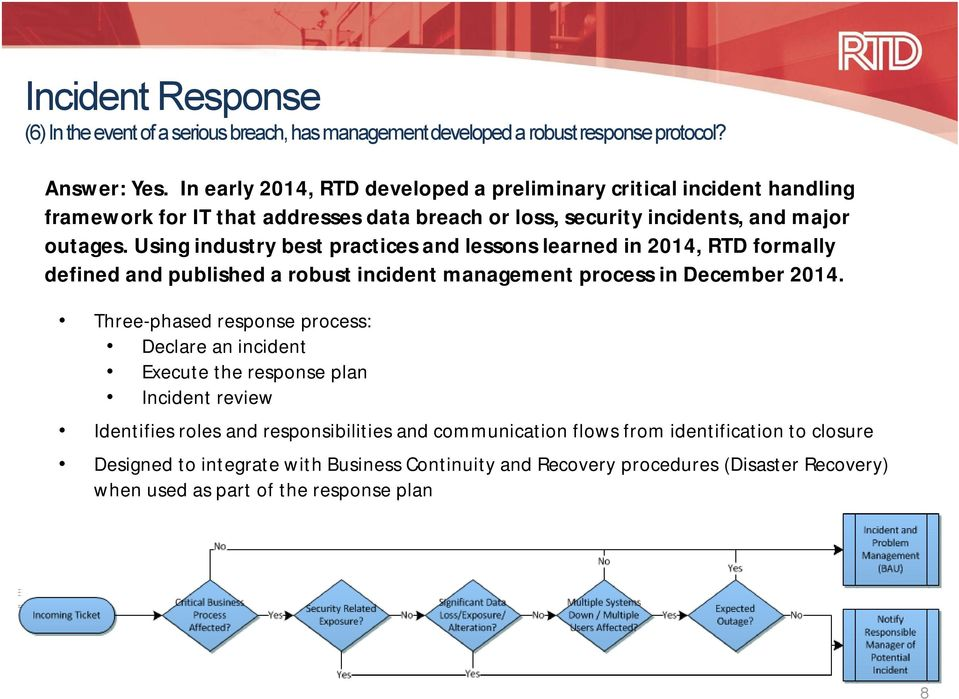 Using industry best practices and lessons learned in 2014, RTD formally defined and published a robust incident management process in December 2014.