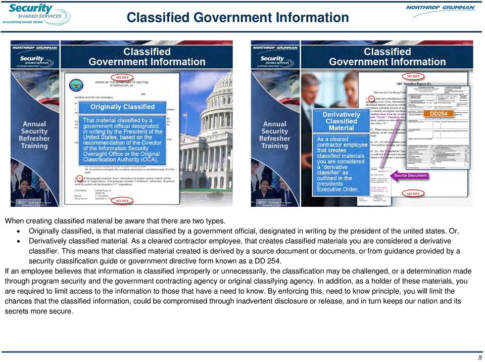 As a cleared contractor employee, that creates classified materials you are considered a derivative classifier.