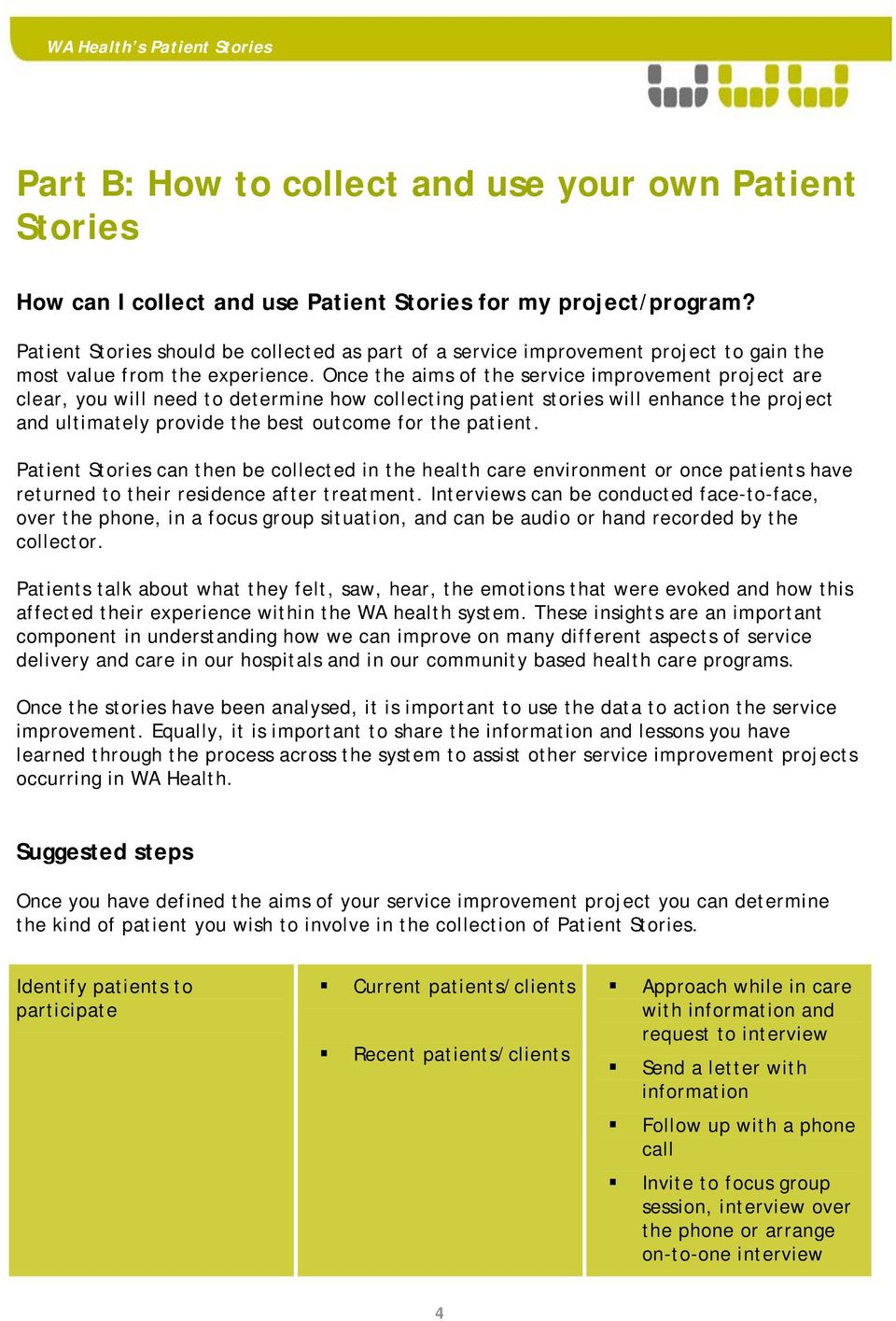 Once the aims of the service improvement project are clear, you will need to determine how collecting patient stories will enhance the project and ultimately provide the best outcome for the patient.