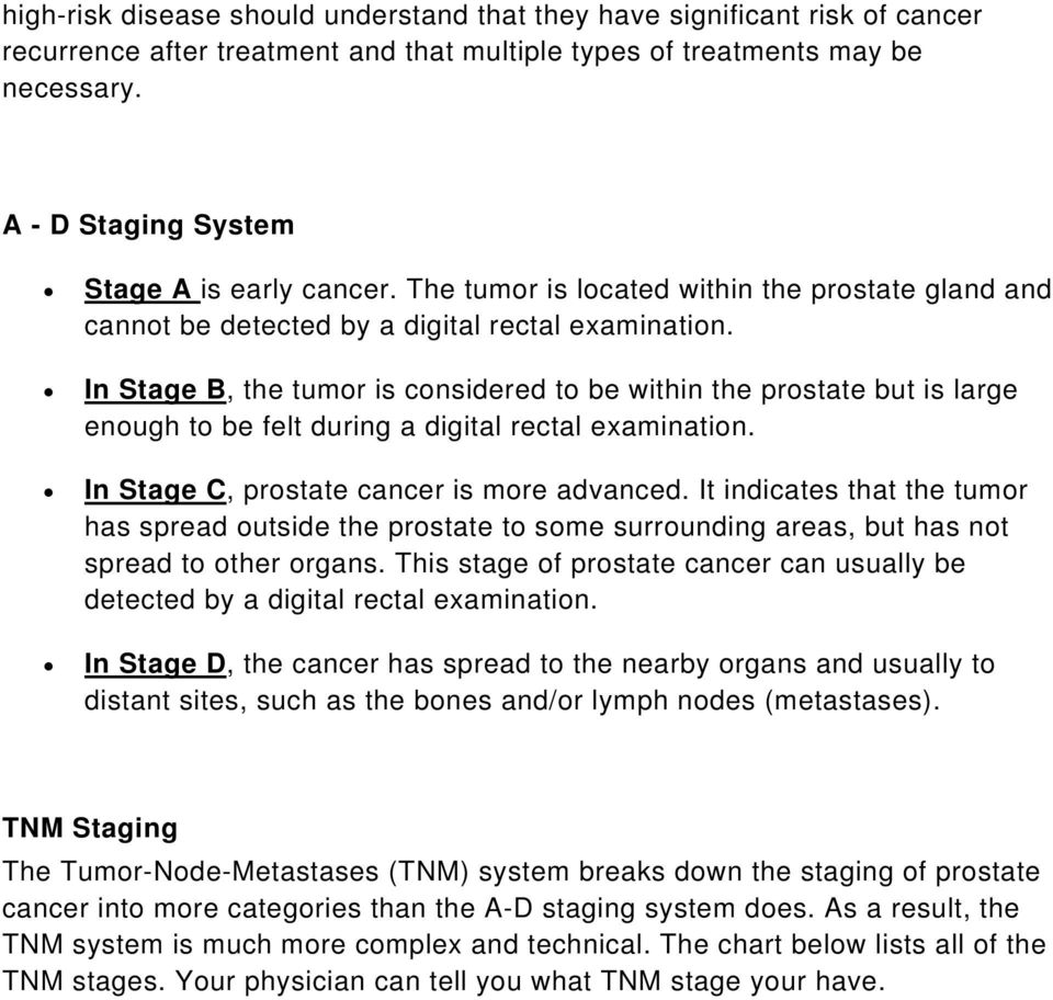 In Stage B, the tumor is considered to be within the prostate but is large enough to be felt during a digital rectal examination. In Stage C, prostate cancer is more advanced.