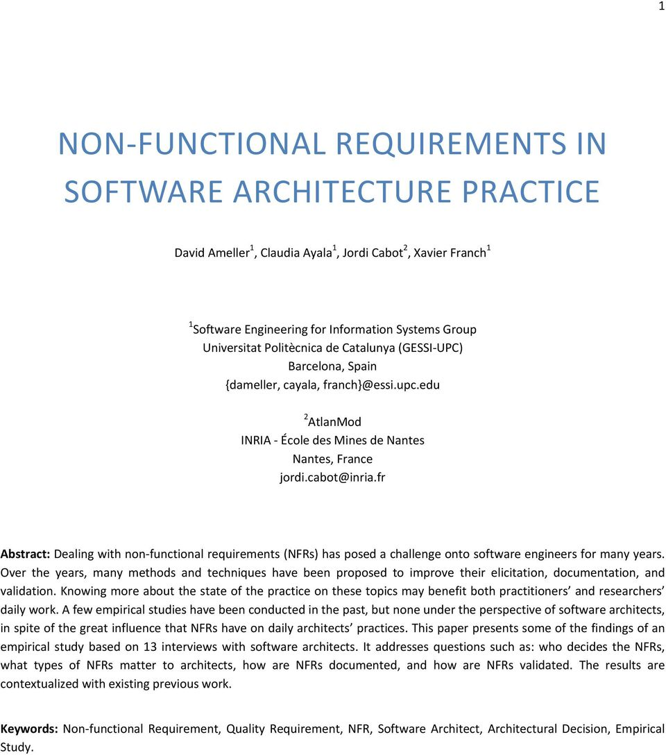 NONFUNCTIONAL REQUIREMENTS IN SOFTWARE ARCHITECTURE PRACTICE PDF - Requirement documentation in software engineering