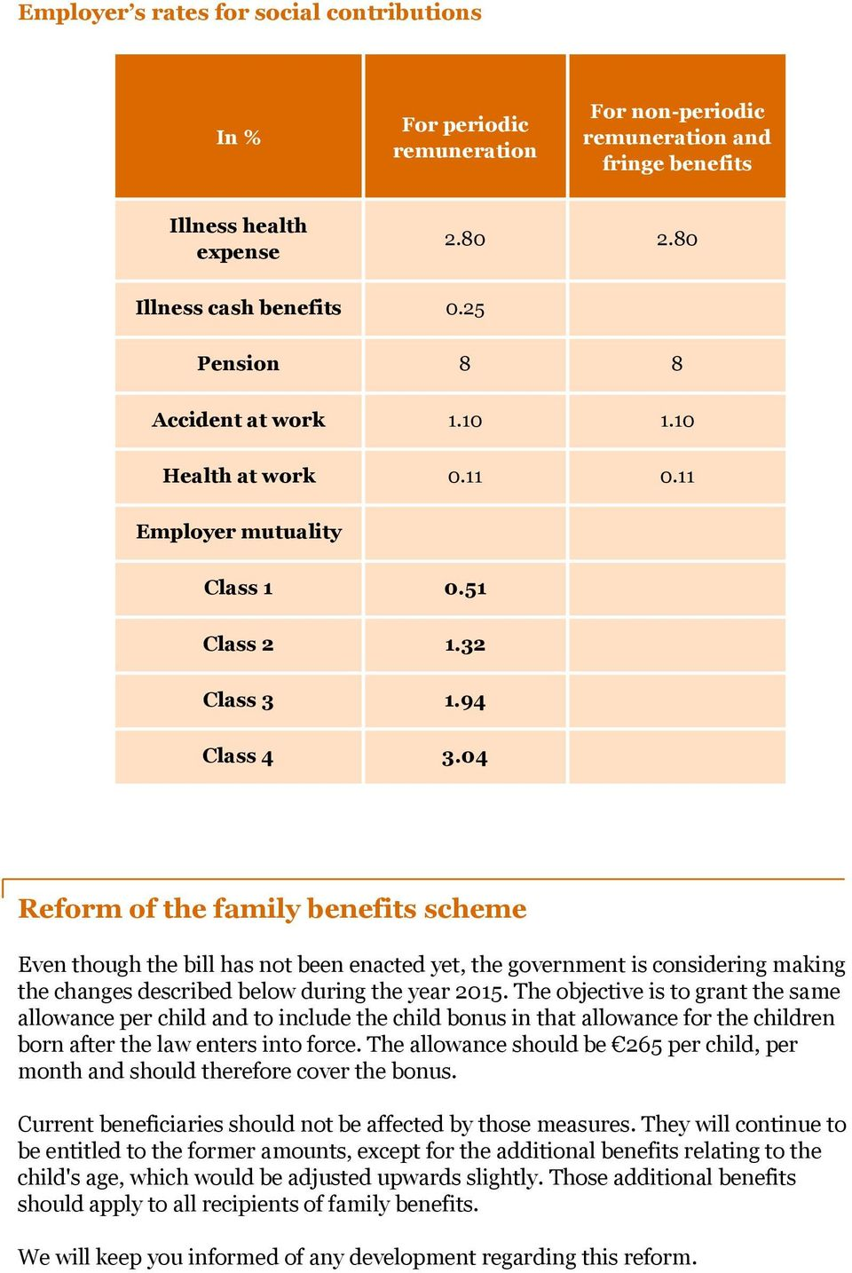 04 Reform of the family benefits scheme Even though the bill has not been enacted yet, the government is considering making the changes described below during the year 2015.