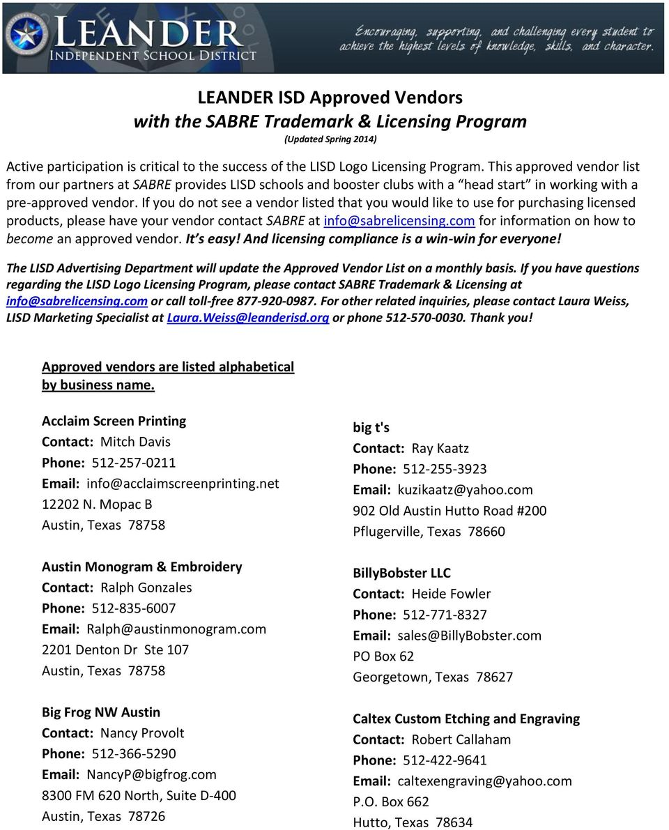 LEANDER ISD Approved Vendors with the SABRE Trademark