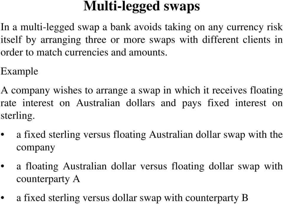 Example A company wishes to arrange a swap in which it receives floating rate interest on Australian dollars and pays fixed interest