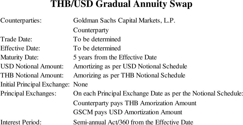 Amortizing as per USD Notional Schedule THB Notional Amount: Amorizing as per THB Notional Schedule Initial Principal Exchange: None Principal