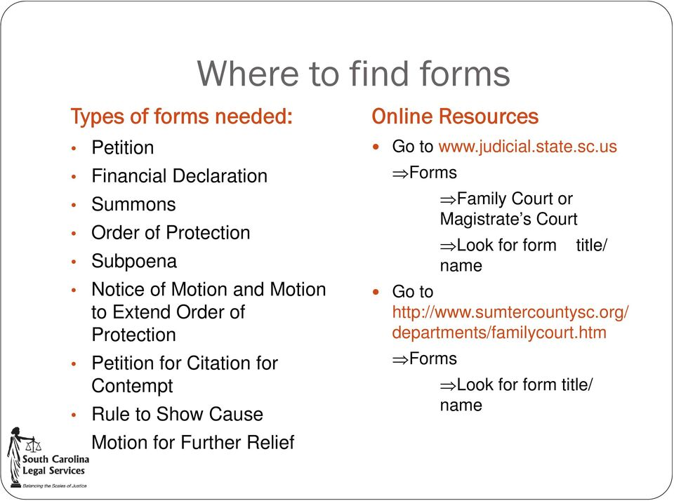 Motion for Further Relief Online Resources Go to www.judicial.state.sc.