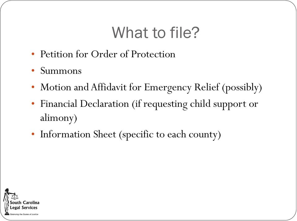 Affidavit for Emergency Relief (possibly) Financial