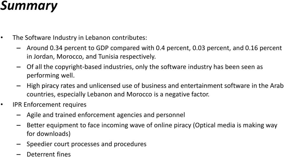 High piracy rates and unlicensed use of business and entertainment software in the Arab countries, especially Lebanon and Morocco is a negative factor.