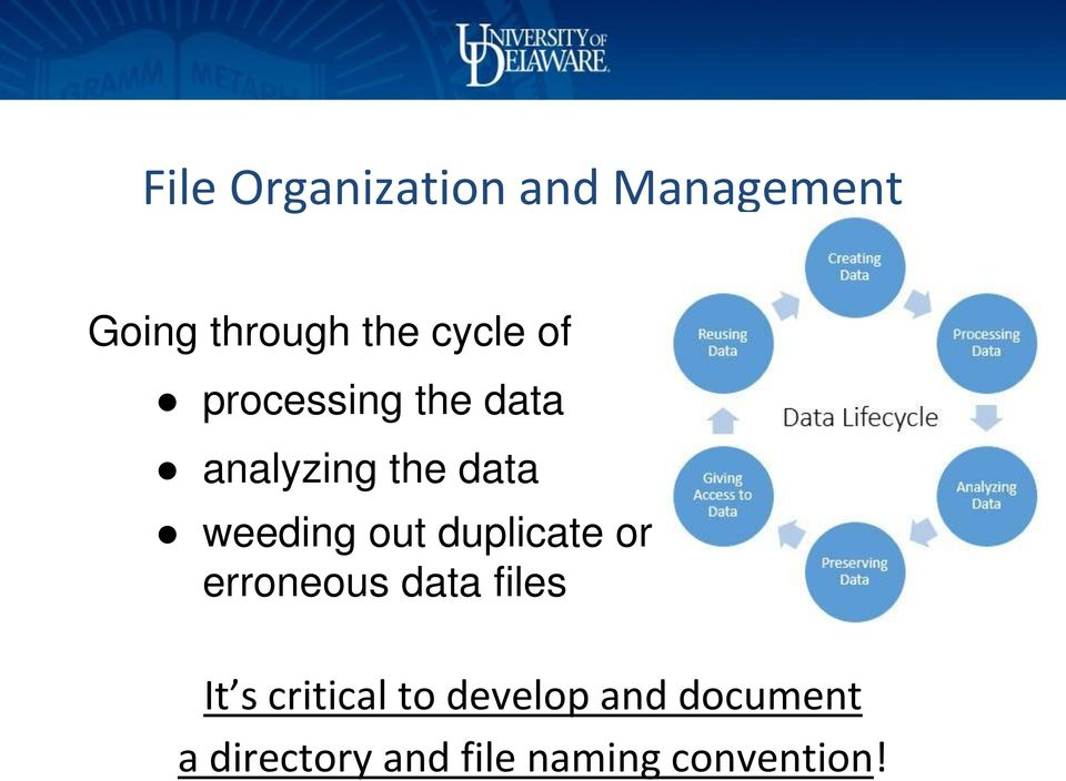 out duplicate or erroneous data files It s critical to