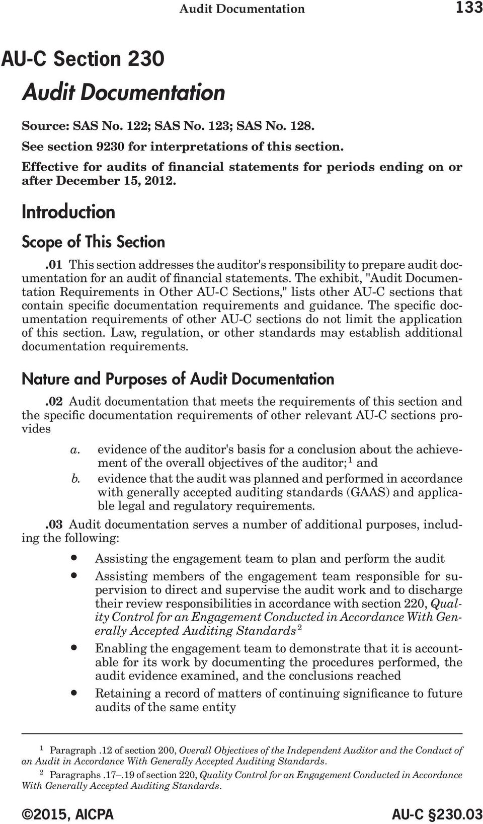 01 This section addresses the auditor's responsibility to prepare audit documentation for an audit of financial statements.