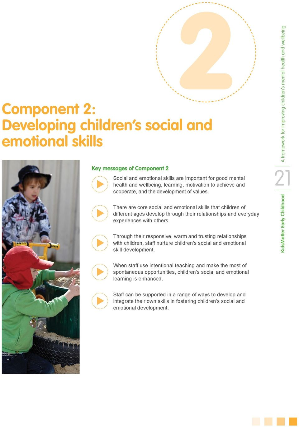 There are core social and emotional skills that children of different ages develop through their relationships and everyday experiences with others.
