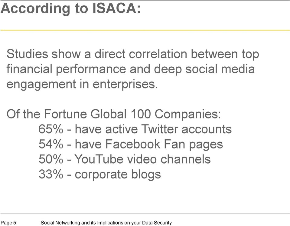 Of the Fortune Global 100 Companies: 65% - have active Twitter accounts