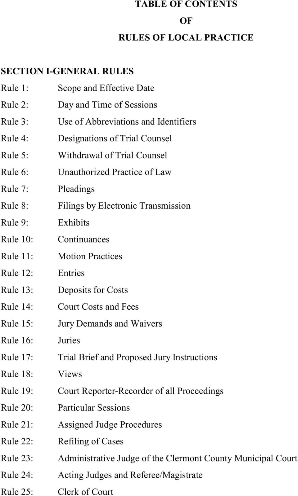 Continuances Rule 11: Motion Practices Rule 12: Entries Rule 13: Deposits for Costs Rule 14: Court Costs and Fees Rule 15: Jury Demands and Waivers Rule 16: Juries Rule 17: Trial Brief and Proposed