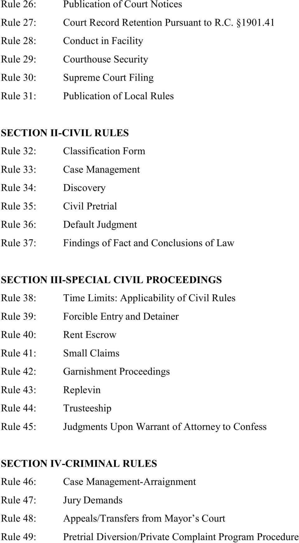 Management Rule 34: Discovery Rule 35: Civil Pretrial Rule 36: Default Judgment Rule 37: Findings of Fact and Conclusions of Law SECTION III-SPECIAL CIVIL PROCEEDINGS Rule 38: Time Limits: