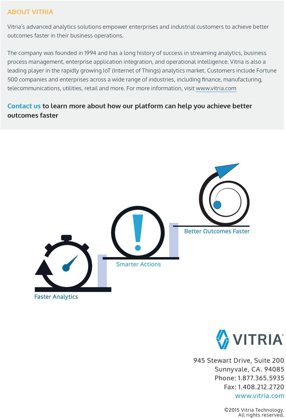 Vitria is also a leading player in the rapidly growing IoT (Internet of Things) analytics market.