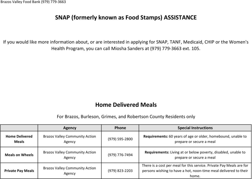 Home Delivered Meals For Brazos, Burleson, Grimes, and Robertson County Residents only Agency Phone Special Instructions Home Delivered Meals Brazos Valley Community Action Agency (979) 595-2800
