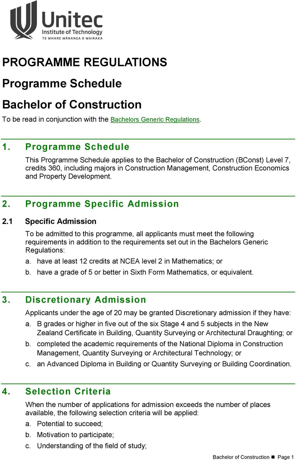 programme regulations programme schedule bachelor of construction - pdf