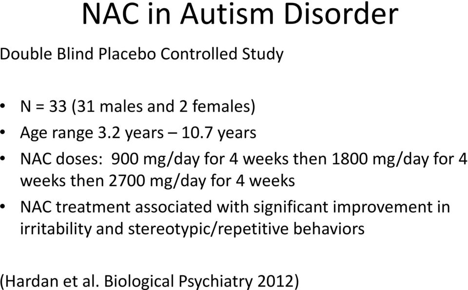 7 years NAC doses: 900 mg/day for 4 weeks then 1800 mg/day for 4 weeks then 2700 mg/day for