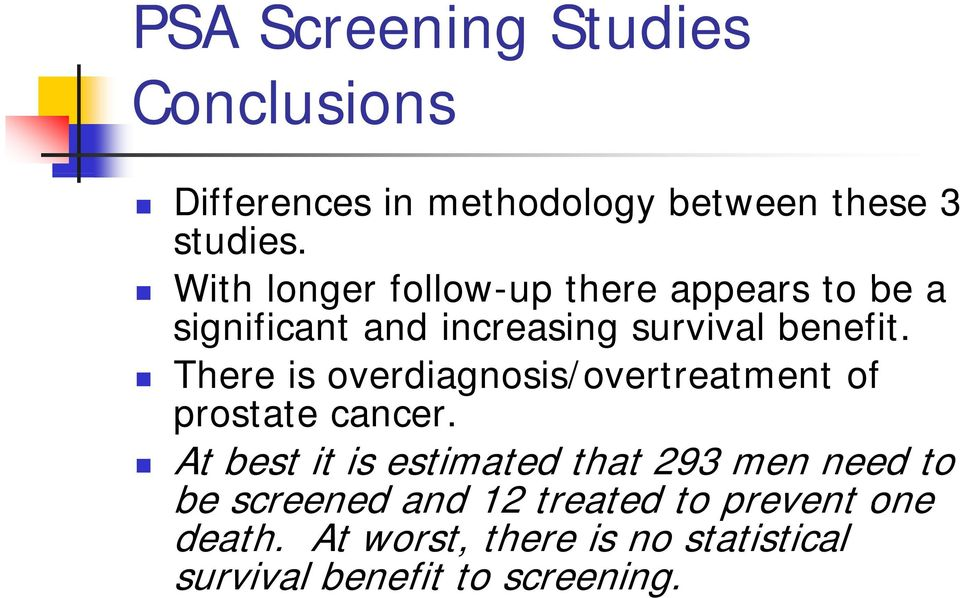 There is overdiagnosis/overtreatment of prostate cancer.