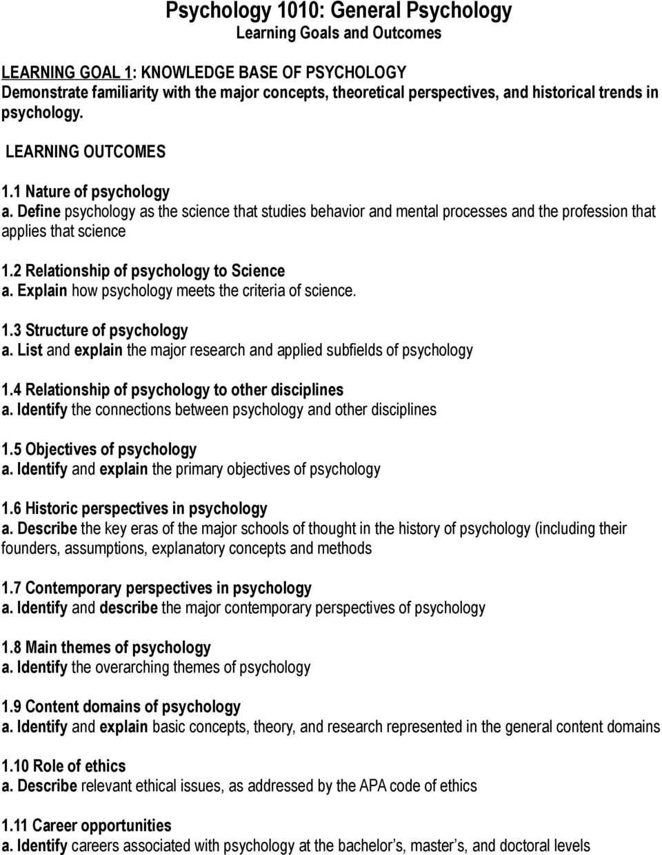 2 Relationship of psychology to Science a. Explain how psychology meets the criteria of science. 1.3 Structure of psychology a.
