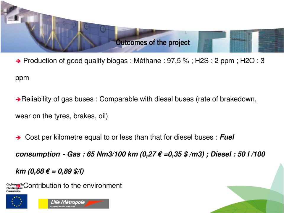 brakes, oil) Cost per kilometre equal to or less than that for diesel buses : Fuel consumption - Gas :