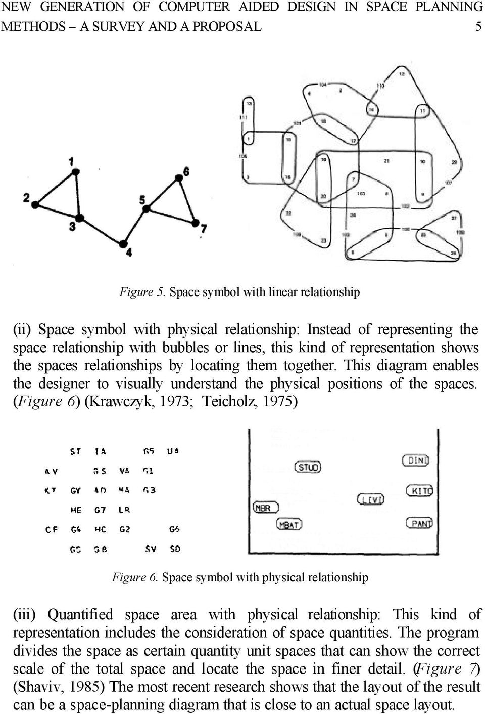 relationships by locating them together. This diagram enables the designer to visually understand the physical positions of the spaces. (Figure 6) (Krawczyk, 1973; Teicholz, 1975) Figure 6.