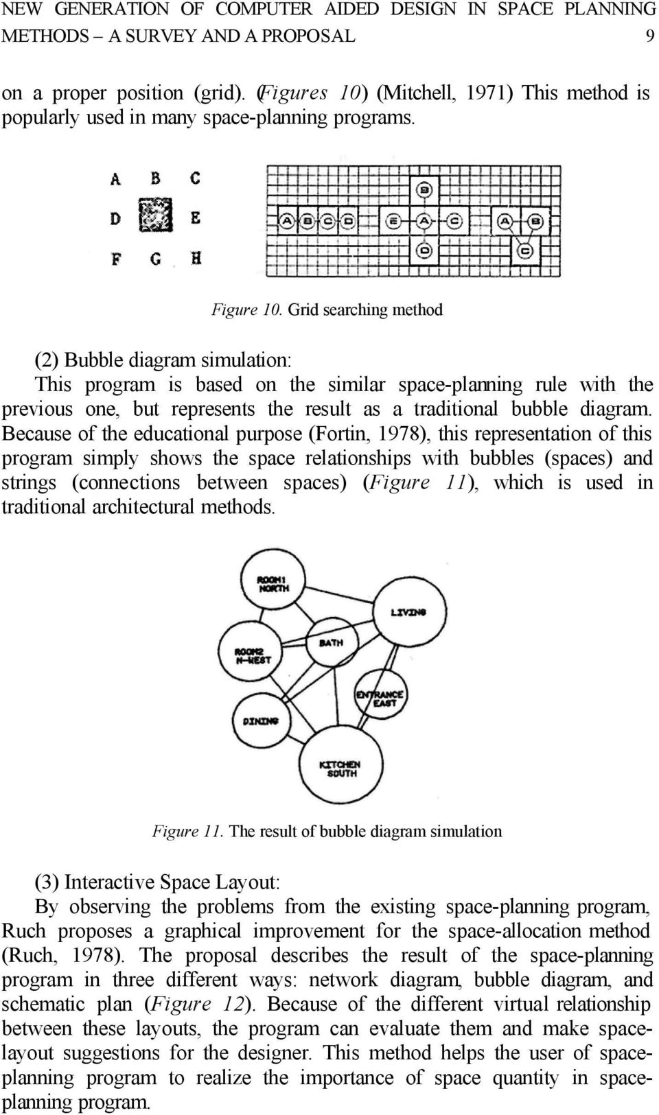 Grid searching method (2) Bubble diagram simulation: This program is based on the similar space-planning rule with the previous one, but represents the result as a traditional bubble diagram.