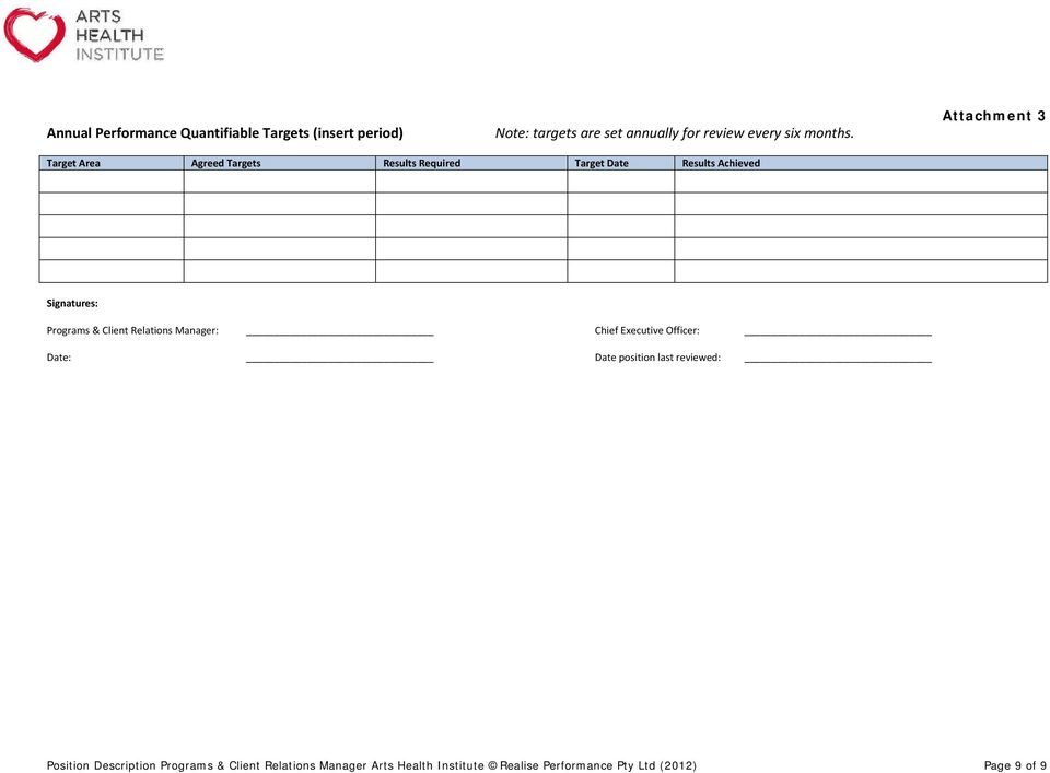 Attachment 3 Target Area Agreed Targets Results Required Target Date Results Achieved Signatures: Programs &