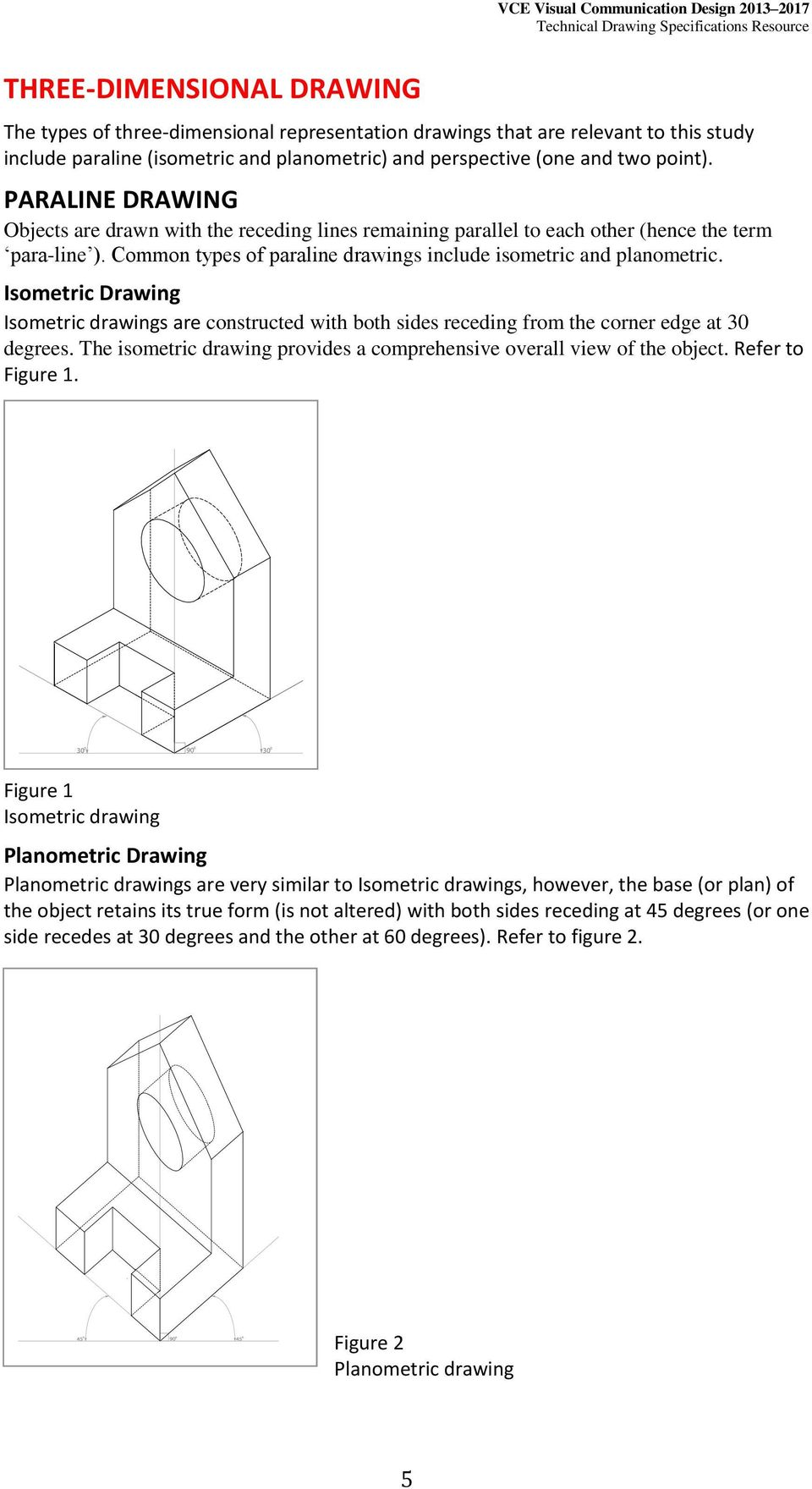 Isometric Drawing Isometric drawings are constructed with both sides receding from the corner edge at 30 degrees. The isometric drawing provides a comprehensive overall view of the object.