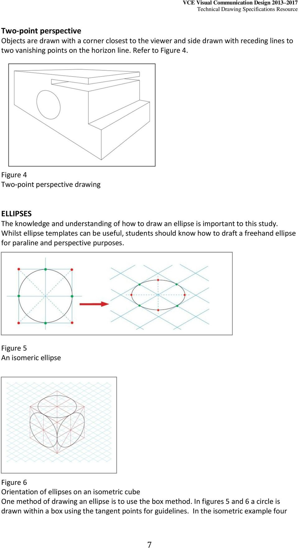 Whilst ellipse templates can be useful, students should know how to draft a freehand ellipse for paraline and perspective purposes.