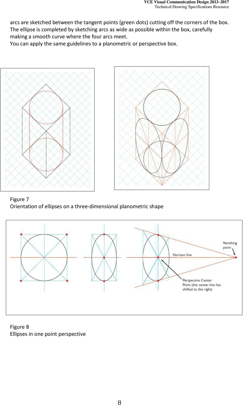 curve where the four arcs meet. You can apply the same guidelines to a planometric or perspective box.