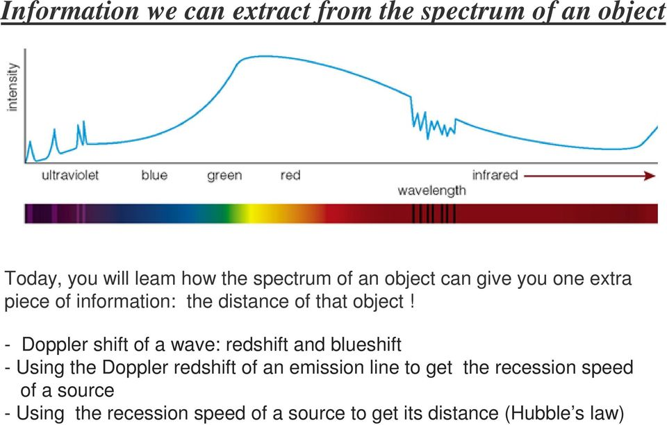 - Doppler shift of a wave: redshift and blueshift - Using the Doppler redshift of an emission line