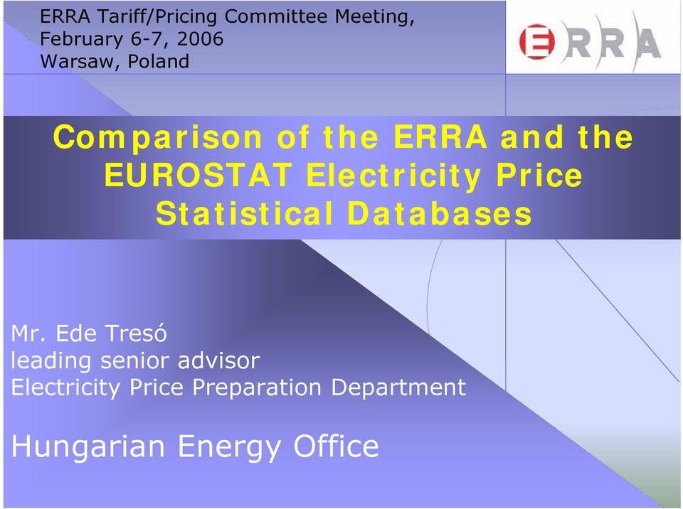 Electricity Price Statistical Databases Mr.