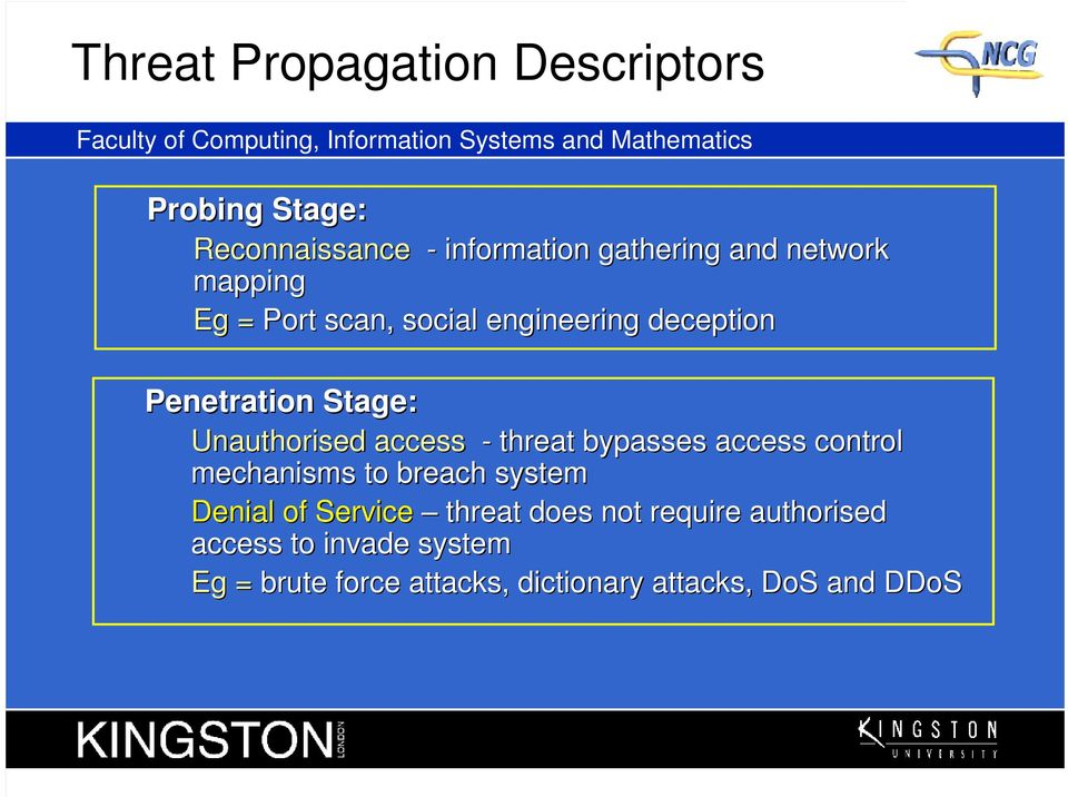 Penetration Stage: Unauthorised access - threat bypasses access control mechanisms to breach system Denial of