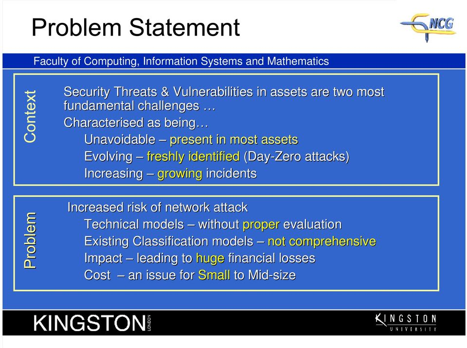 incidents Increased risk of network attack Technical models without proper evaluation Existing