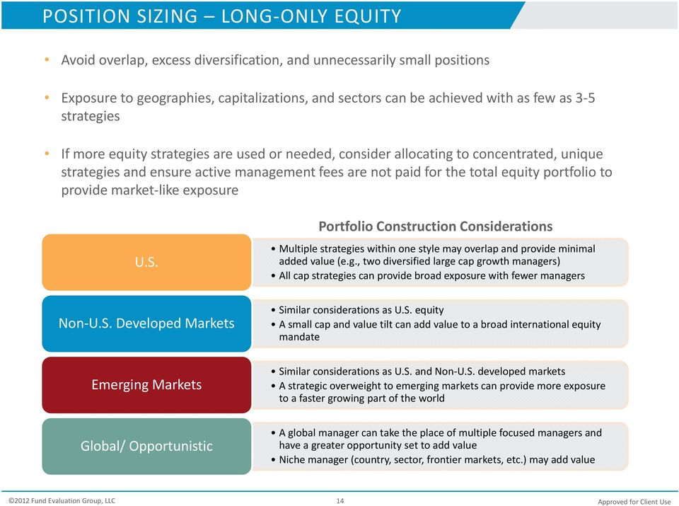 the total equity portfolio to provide market like exposure U.S. Portfolio Construction Considerations Multiple strategi