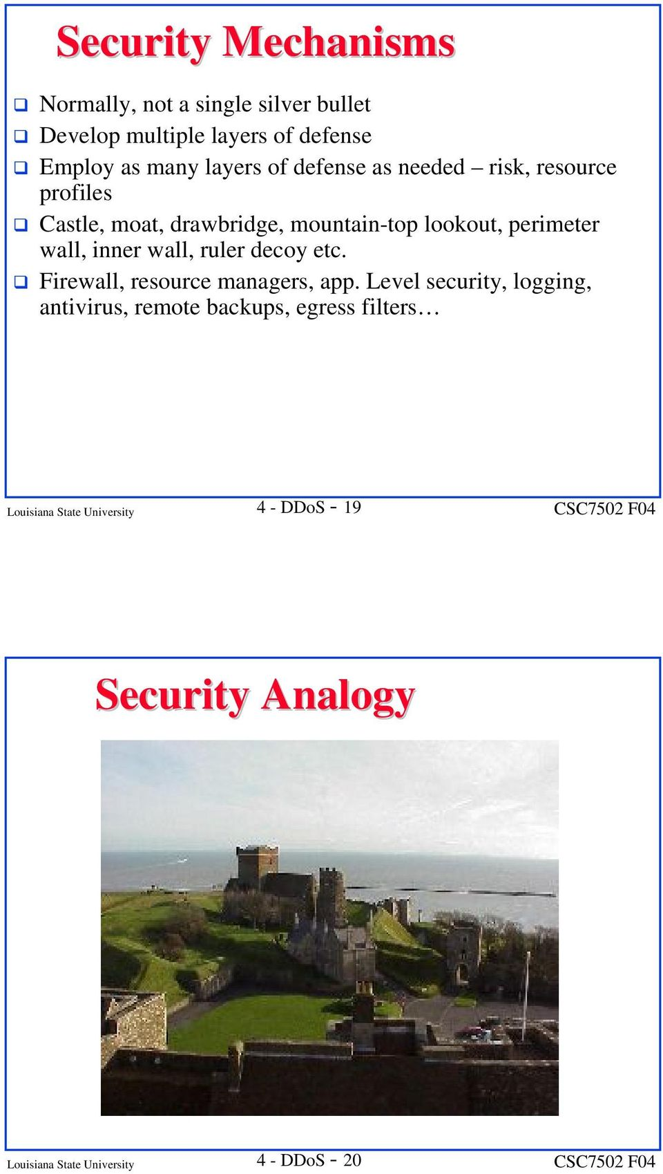 wall, inner wall, ruler decoy etc. Firewall, resource managers, app.
