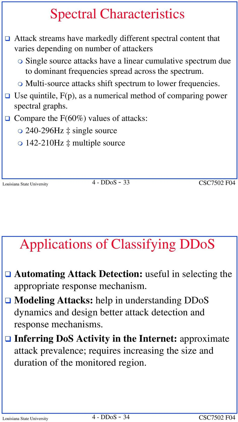 Compare the F(60%) values of attacks: 240-296Hz single source 142-210Hz multiple source Louisiana State University 4 - DDoS - 33 Applications of Classifying DDoS Automating Attack Detection: useful