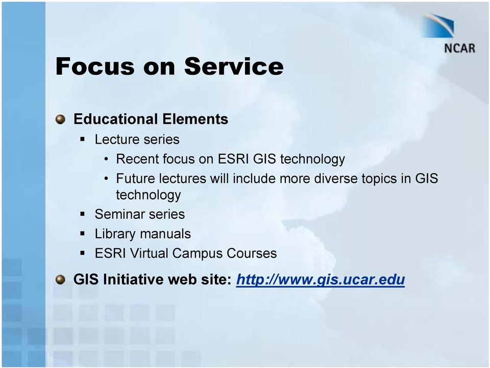 topics in GIS technology Seminar series Library manuals ESRI