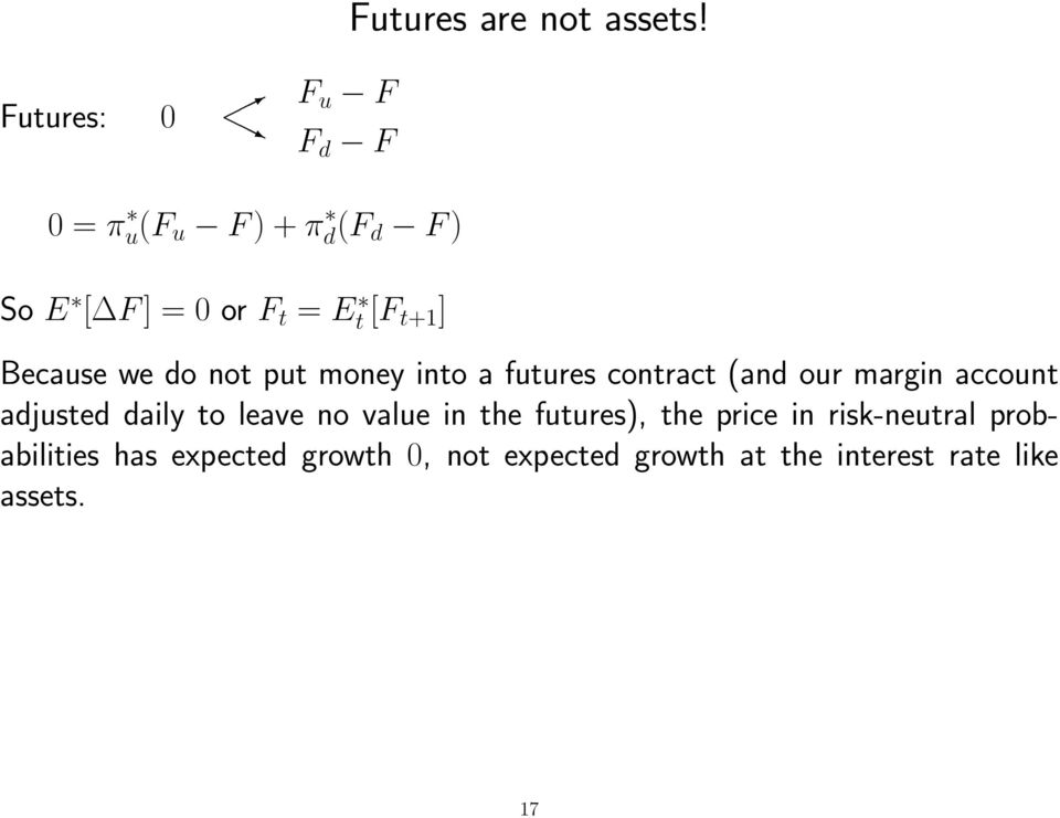 not put money into a futures contract (and our margin account adjusted daily to leave no