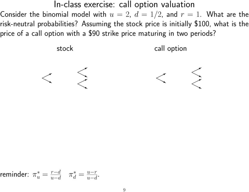 Assuming the stock price is initially $100, what is the price of a call option