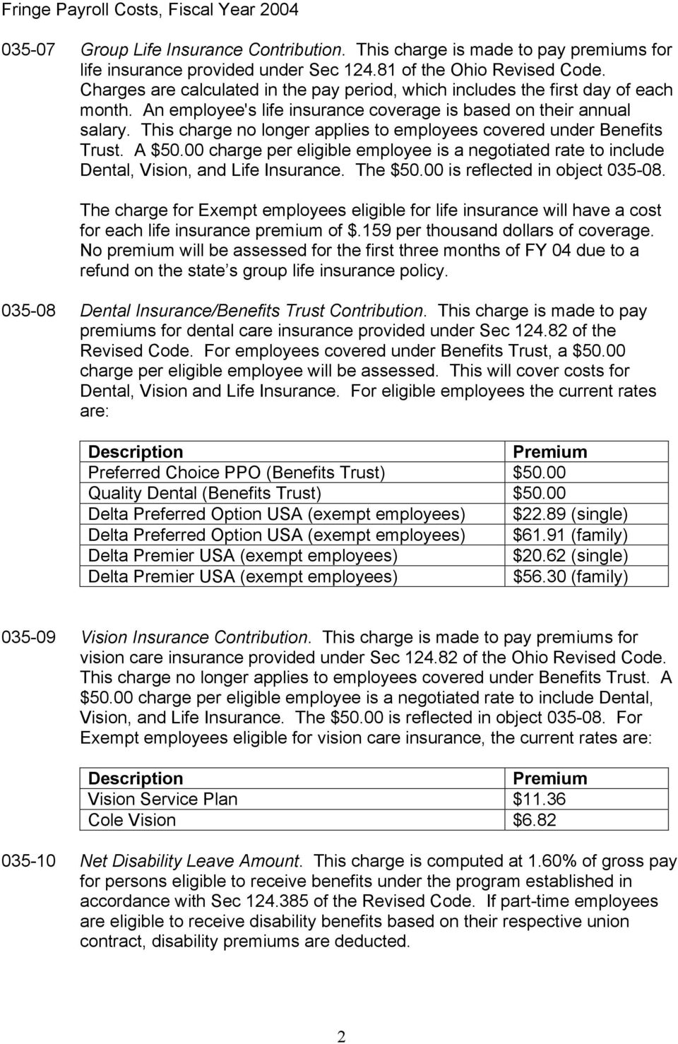 This charge no longer applies to employees covered under Benefits Trust. A $50.00 charge per eligible employee is a negotiated rate to include Dental, Vision, and Life Insurance. The $50.