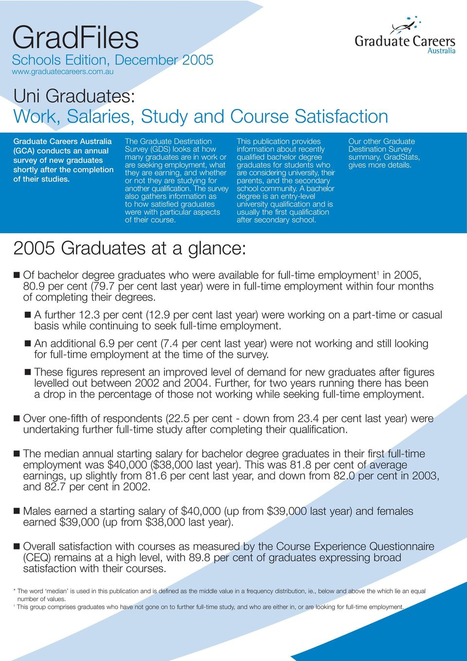 The Graduate Destination Survey (GDS) looks at how many graduates are in work or are seeking, what they are earning, and whether or not they are studying for another qualification.