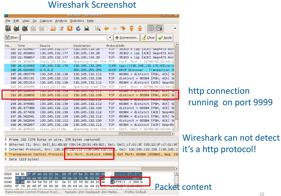 9999 Wireshark can not detect