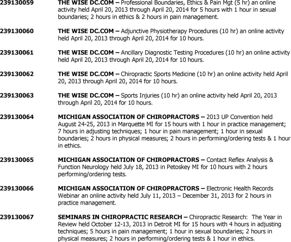 239130060 THE WISE DC.COM Adjunctive Physiotherapy Procedures (10 hr) an online activity held April 20, 2013 239130061 THE WISE DC.