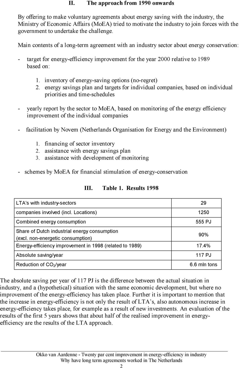 Main contents of a long-term agreement with an industry sector about energy conservation: - target for energy-efficiency improvement for the year 2000 relative to 1989 based on: 1.