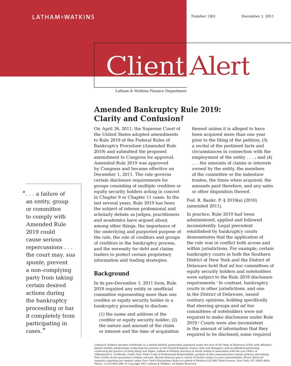 Amended Bankruptcy Rule 2019: Clarity and Confusion?